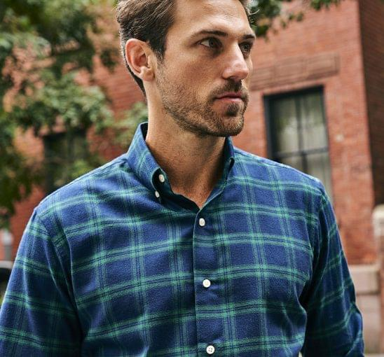 Green Plaid Flannel Shirt on Figure
