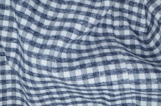 Heather Grey and White Gingham Flannel Shirt Fabric