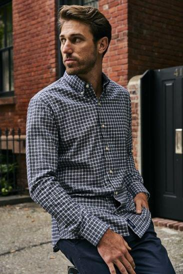 Heather Grey and White Tattersall Flannel on figure