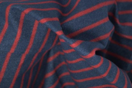 Horizontal Red Stripe Flannel Shirt Fabric