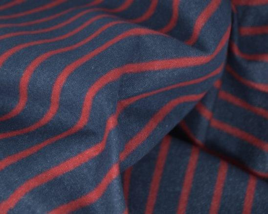 Horizontal Red Stripe Flannel Shirt Fabric