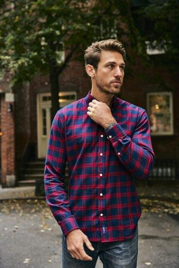Red Plaid Flannel Shirt On Figure