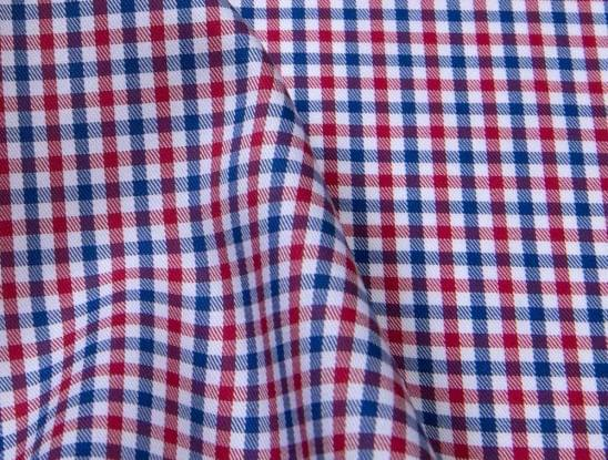 Red and Blue Gingham Stain Repelling Dress Shirt Fabric