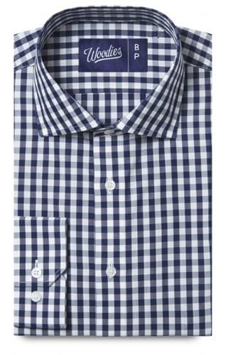 Navy Gingham Stain Repelling Performance Dress Shirt