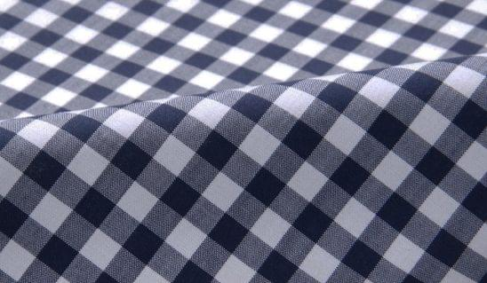 Navy Gingham Stain Repelling Performance Dress Shirt Fabric