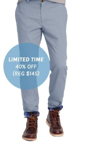 Cadet Blue Flannel Lined Stretch Chino