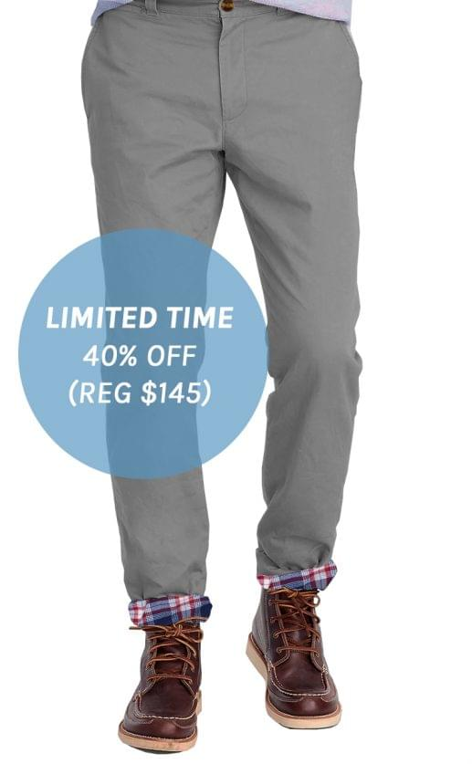Stone Grey Flannel Lined Stretch Chino