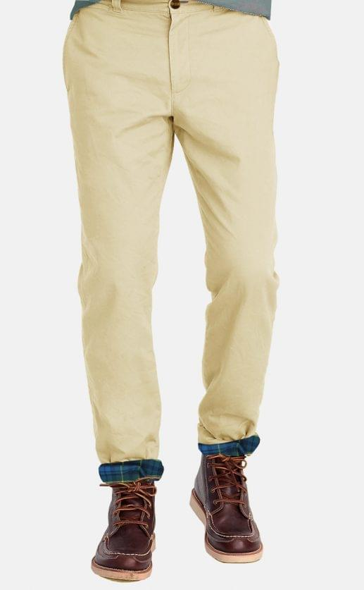 Washed Khaki Flannel Lined Stretch Chino