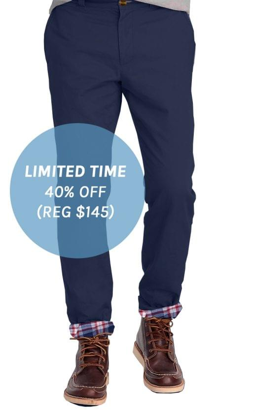Navy Flannel Lined Stretch Chino