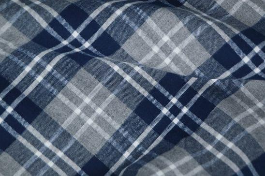 Navy Plaid Flannel Shirt Fabric