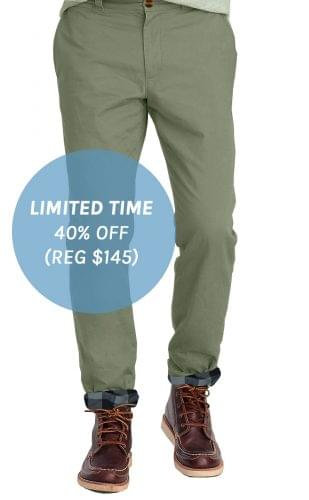Olive Flannel Lined Stretch Chino
