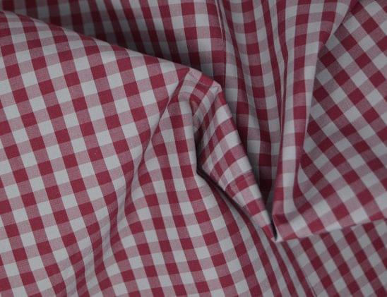 Multi Grey & Burgundy Gingham Shirt Fabric