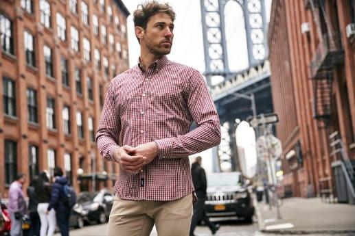 Multi Grey & Burgundy Gingham Shirt