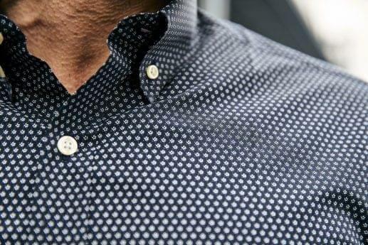 Dark Navy Micro Floral Print Shirt
