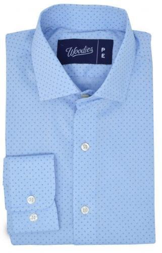 Light Blue Micro Floral Dot Print Shirt