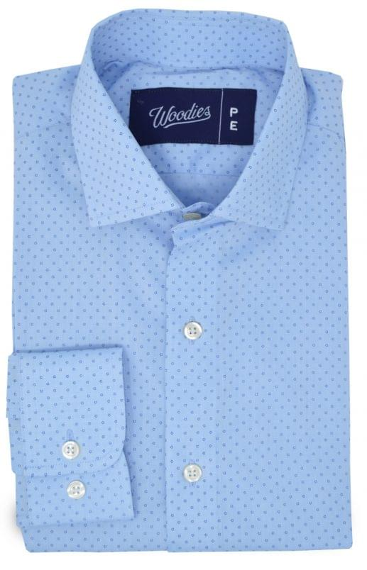 Light Blue Micro Floral Dot Print Shirt