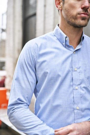 Heathered Light Blue Chambray Shirt on Figure