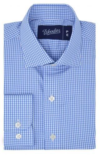 Blue Gingham Plaid Easy Care Shirt