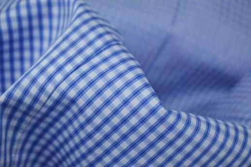 Blue Gingham Check Easy Care Shirt
