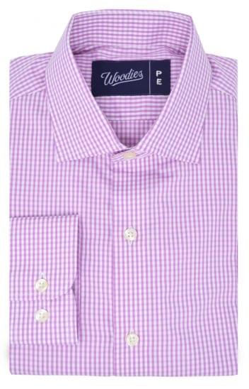 Pink Gingham Plaid Easy Care Shirt