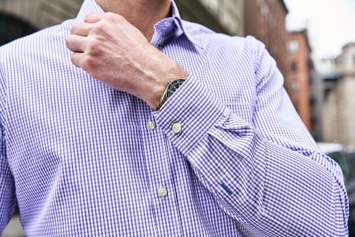 Lavender Gingham Check Easy Care Shirt