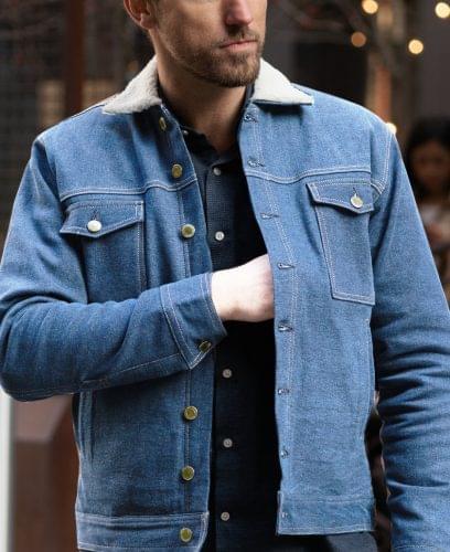 Faded Blue Lined Work Jacket On Figure