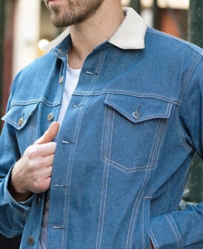 Faded Blue Sherpa Lined Trucker Jacket On Figure