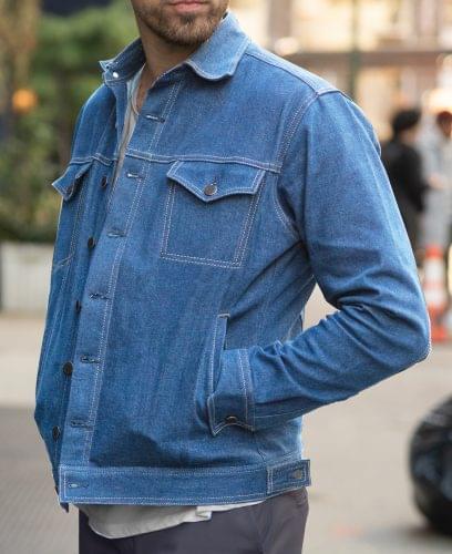 Faded Blue Worker Jacket On Figure