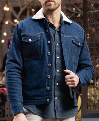 Vintage Blue Sherpa Lined Work Jacket On Figure