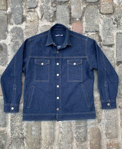Vintage Blue Work Jacket Laydown