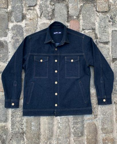 Washed Indigo Work Jacket Laydown