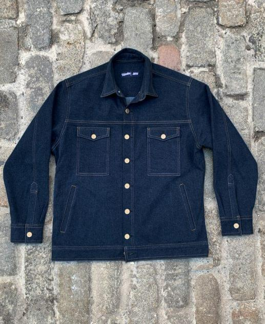 Washed Indigo Denim Work Jacket